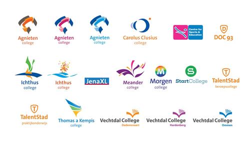 Logo's of secondary schools art part of Landstede Groep